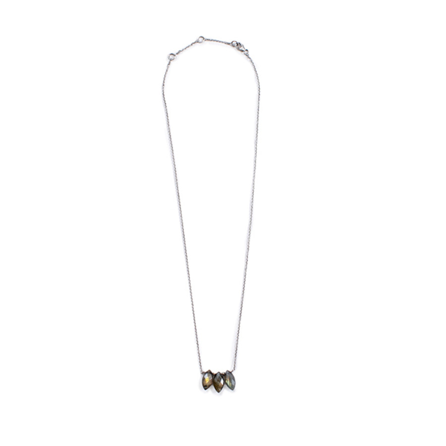 Three Stone Labradorite Necklace in Silver - 16