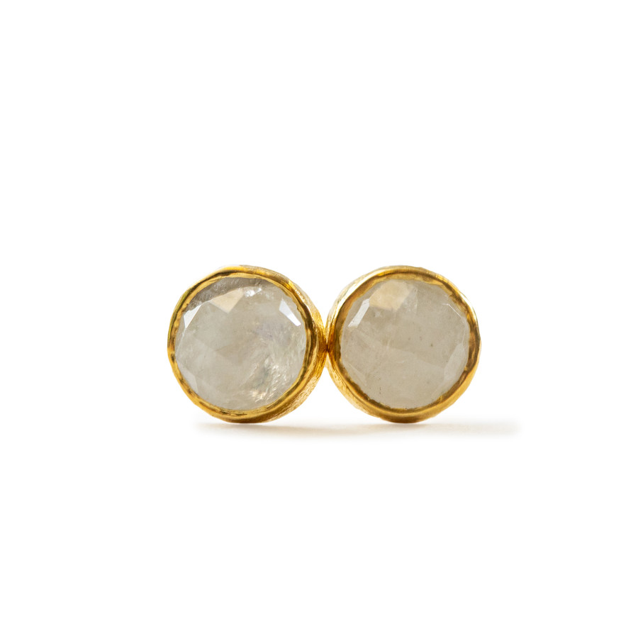 Round Rainbow Moonstone stud earrings in gold