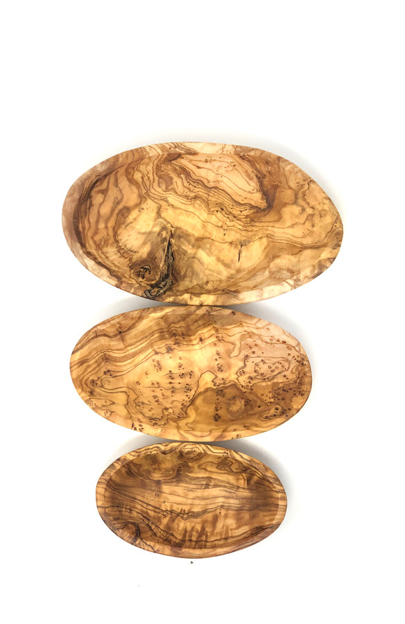 Olive Wood Set of 3 Oval Dishes