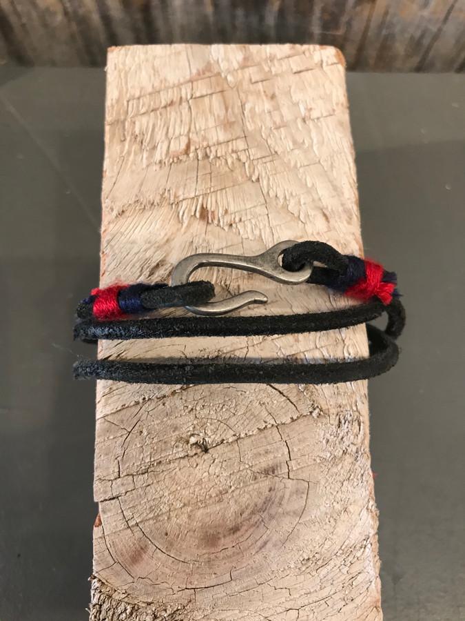 Black Leather Bracelet with Hook