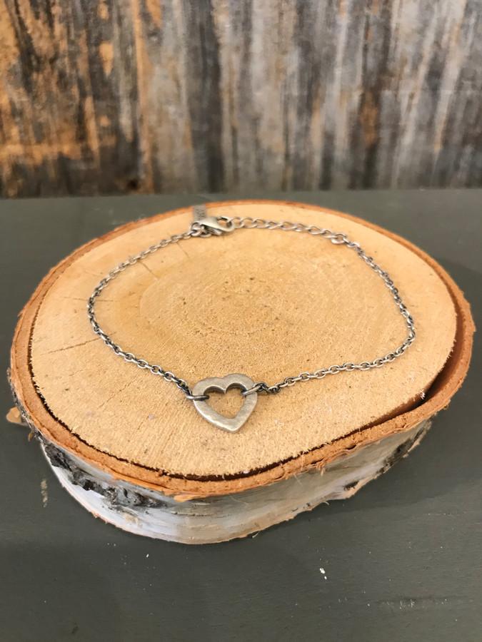 Sterling Silver Heart Pendant Bracelet