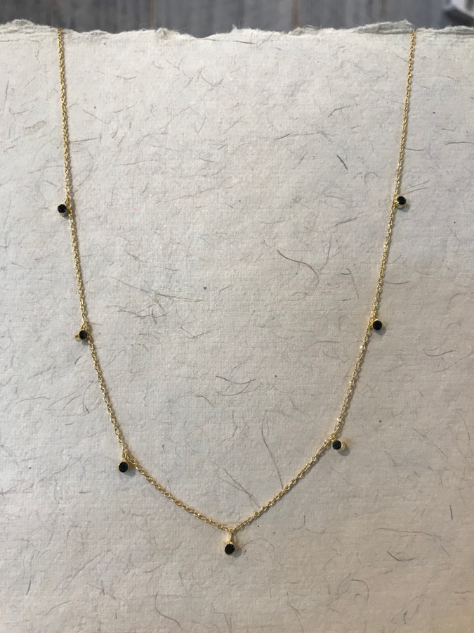 Black Spinal Coin Gold Necklace
