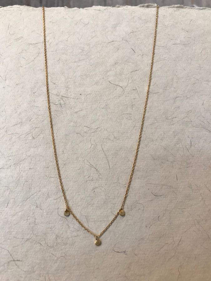 Gold Necklace with 3 Circle Pendants