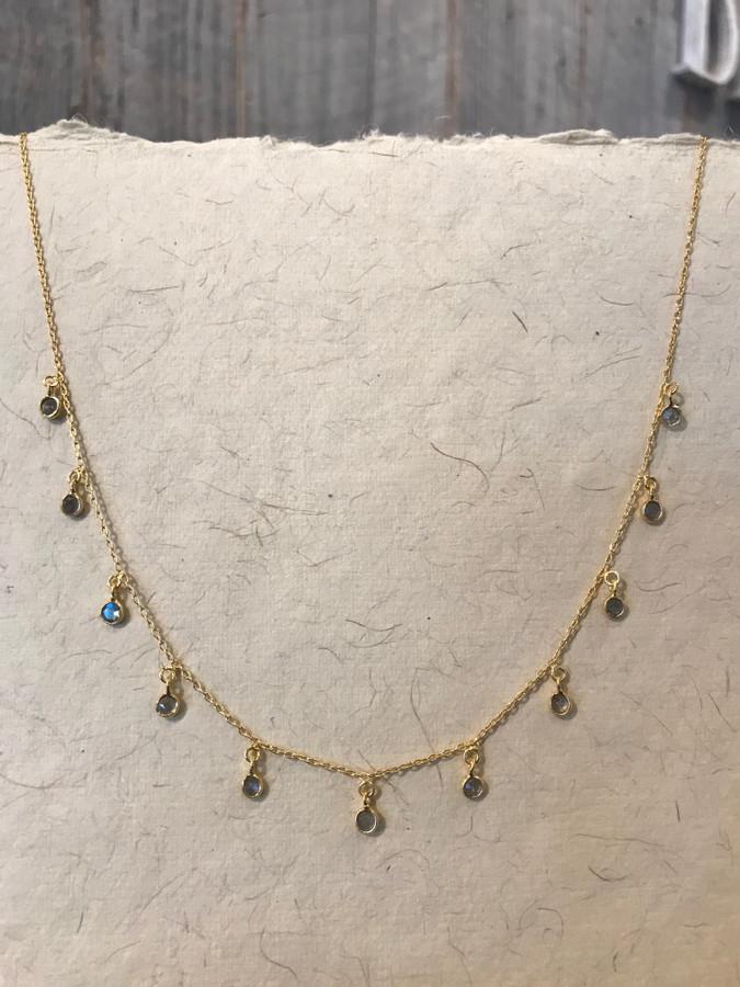 Labradorite Gold Coin Necklace