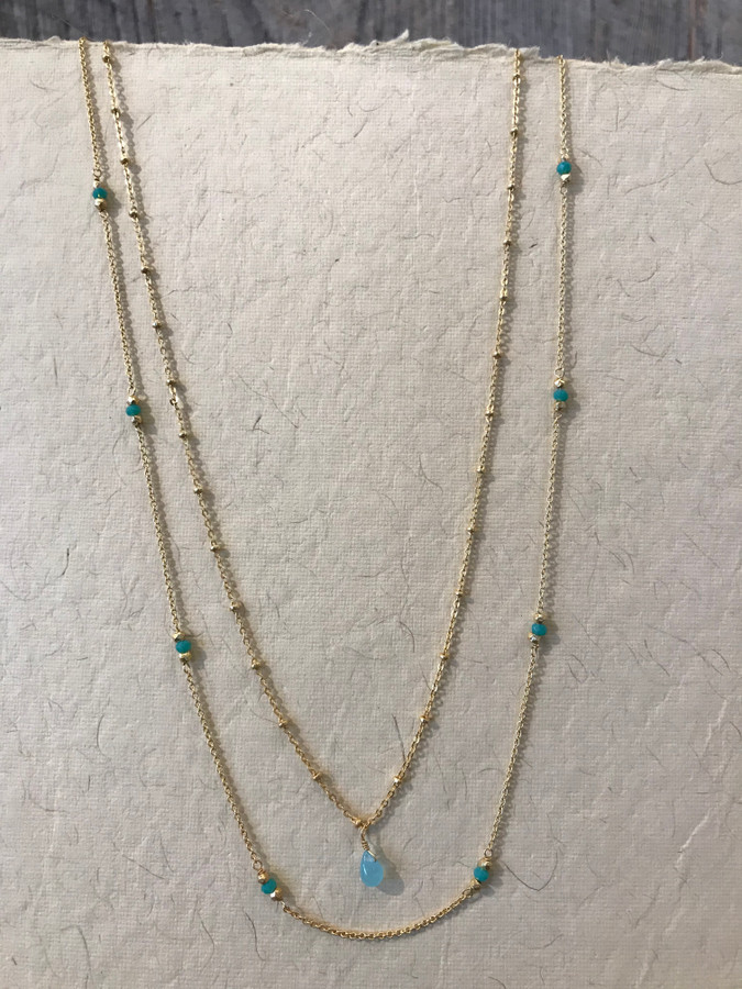 Double Strand Necklace with Aqua Chalcedony - 22k Gold Plating