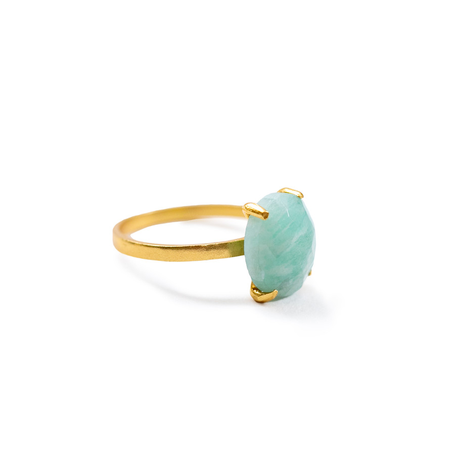 amazonite gold ring - size 6