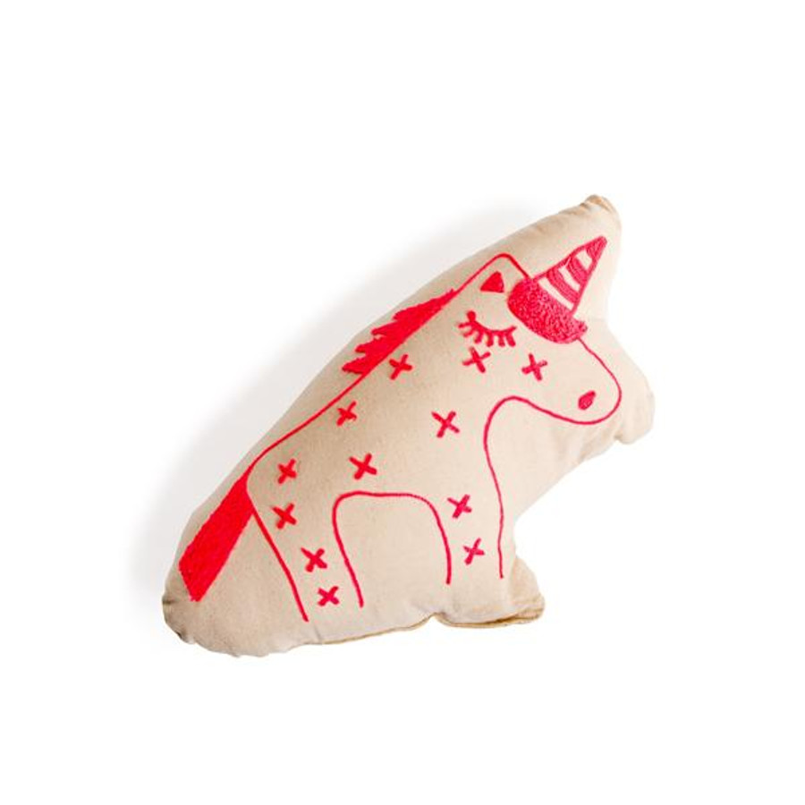 Unicorn Embroidered Cotton Pillow