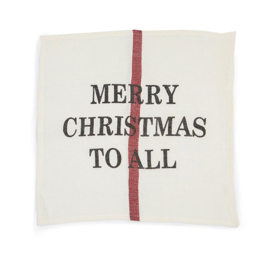 Merry Christmas Linen Napkin / Dishtowel