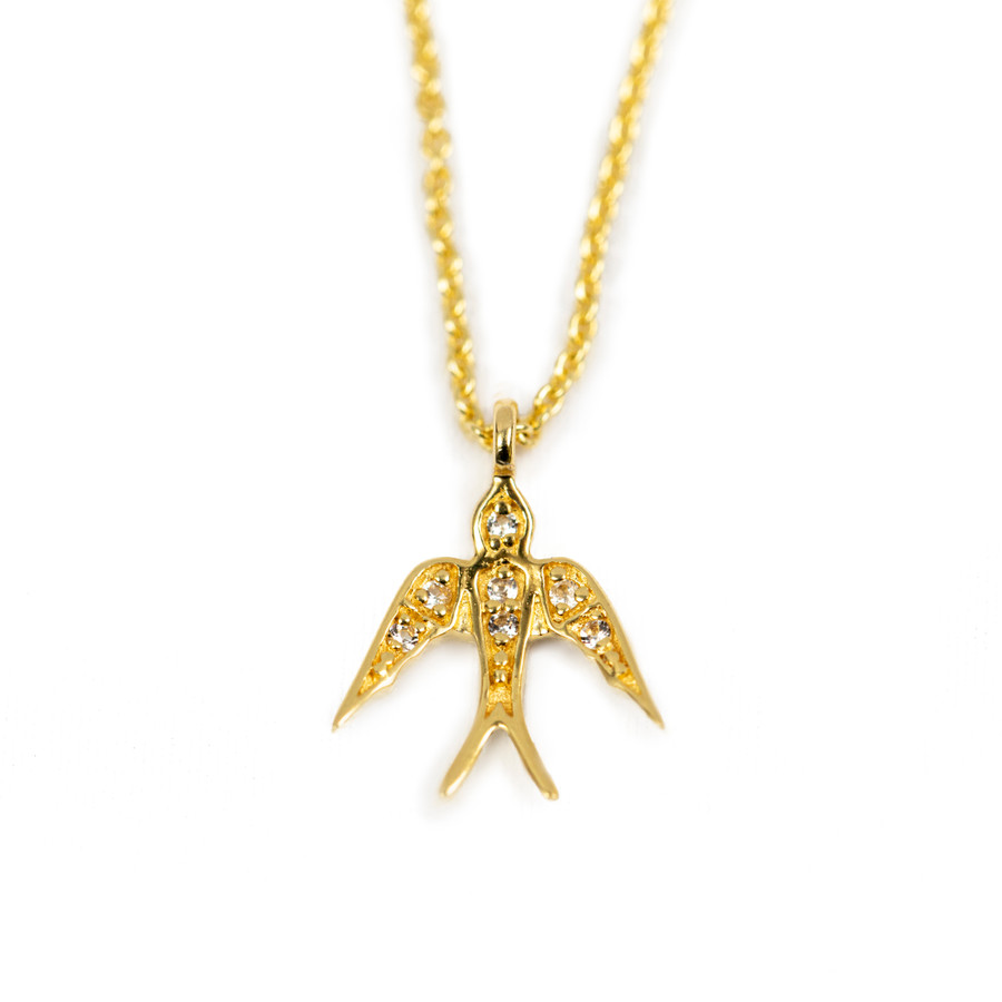 Pave Bird Necklace - Gold Plated