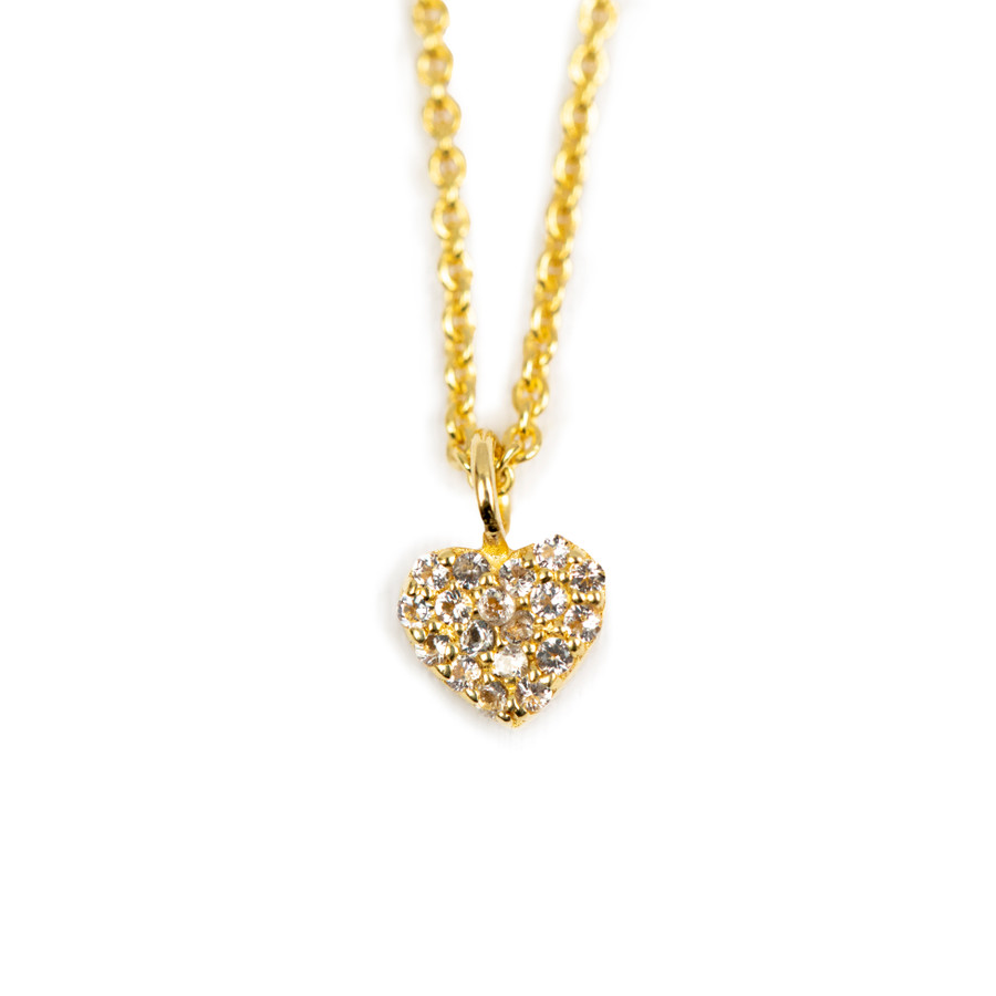 Pave Small Heart Necklace - Gold Plated