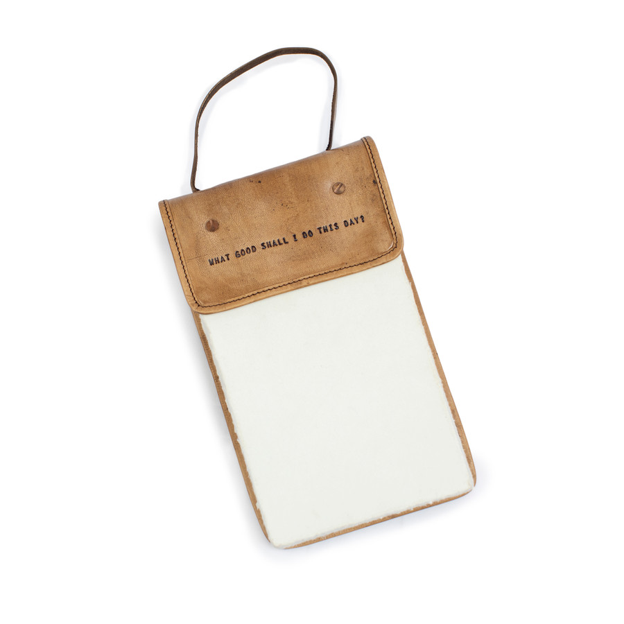 Hanging Leather Journal - What Good Shall I Do This Day