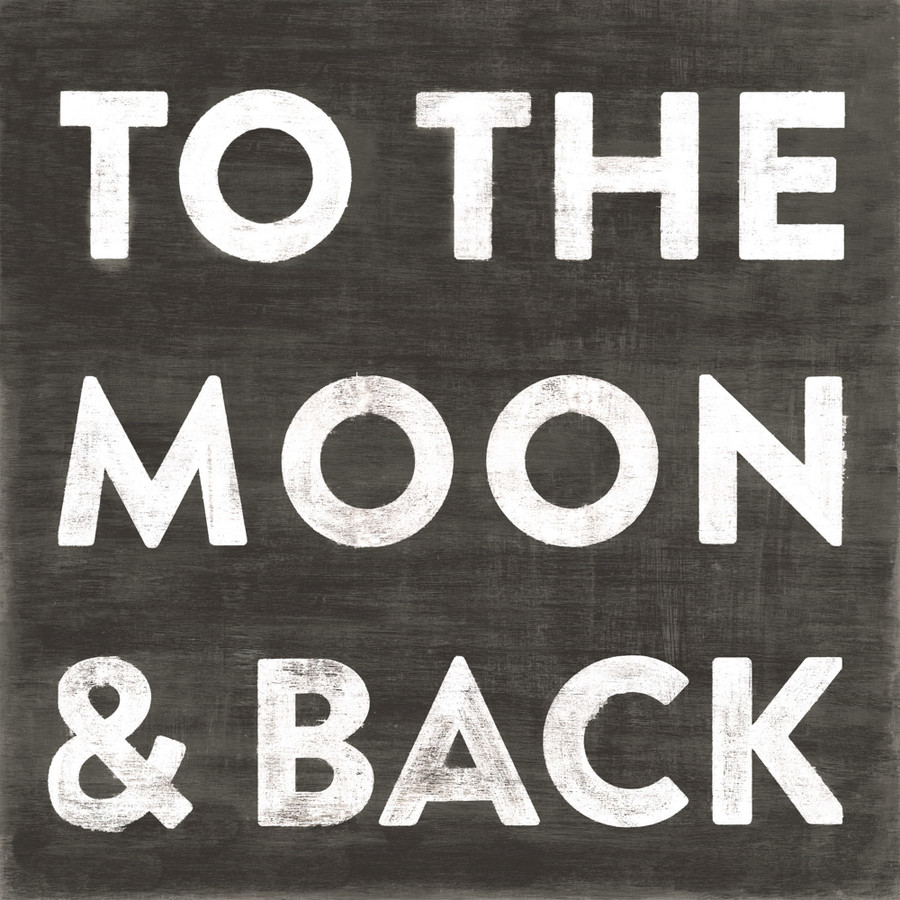 To The Moon and Back art print with black background