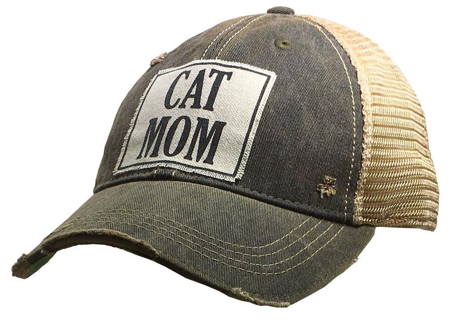 """""""CAT MOM"""" Distressed Trucker Cap"""