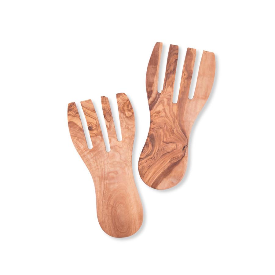 Olive Wood Salad Serving Hands