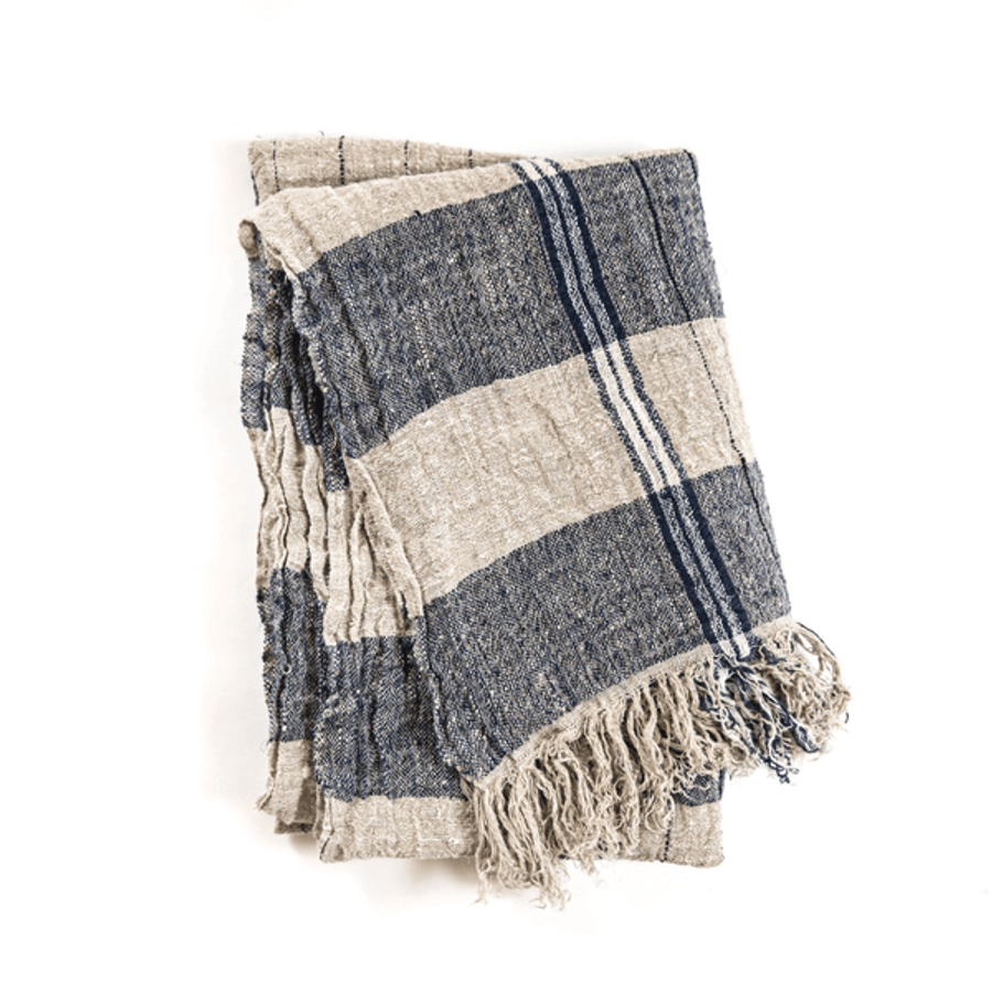Striped Linen Throw - Navy