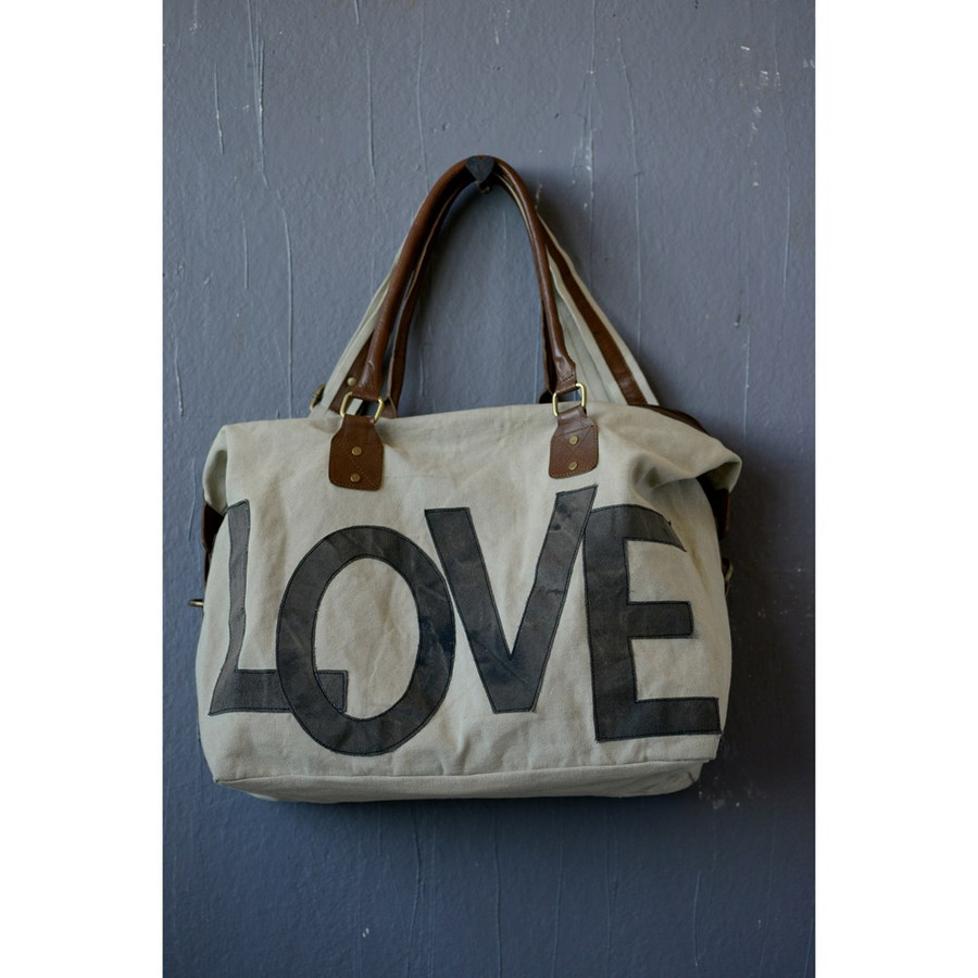 "Canvas Appliqued ""Love"" Satchel with Leather Handle"