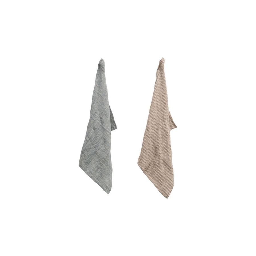 Woven Linen Striped Tea Towel