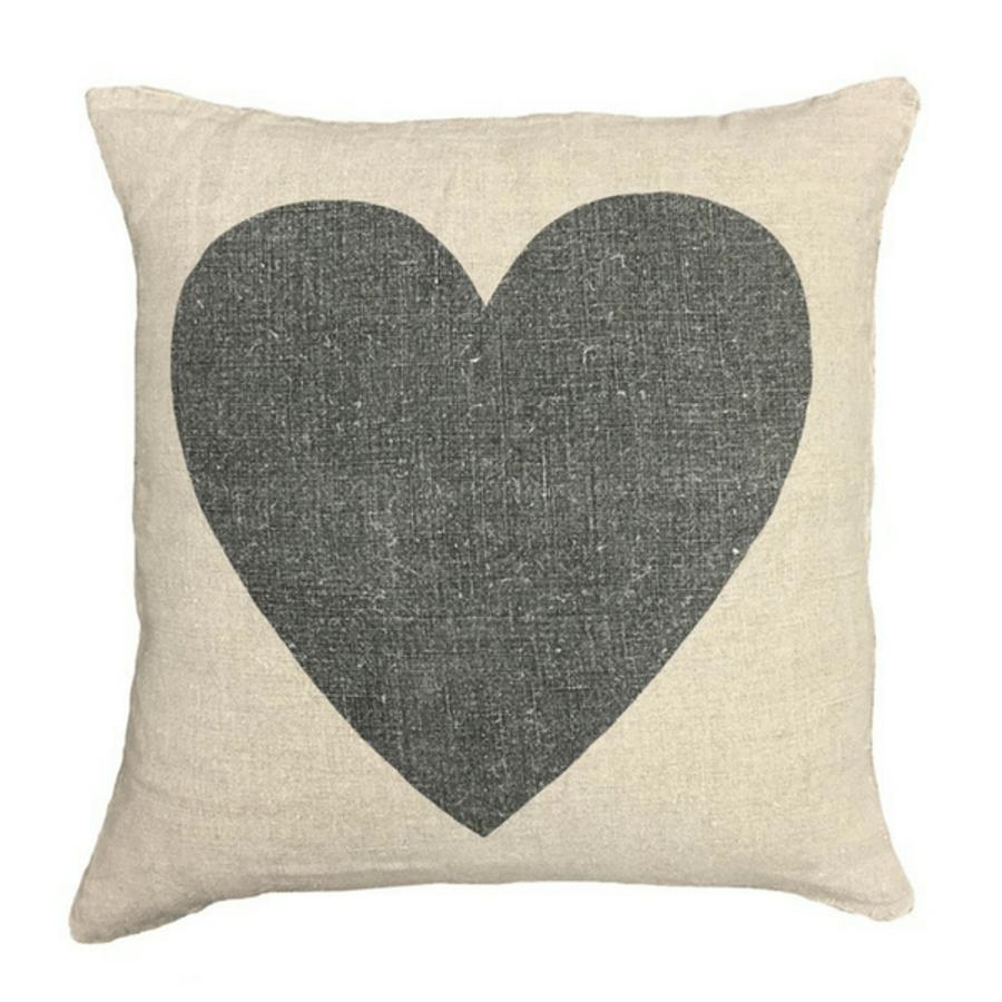 black heart linen pillow