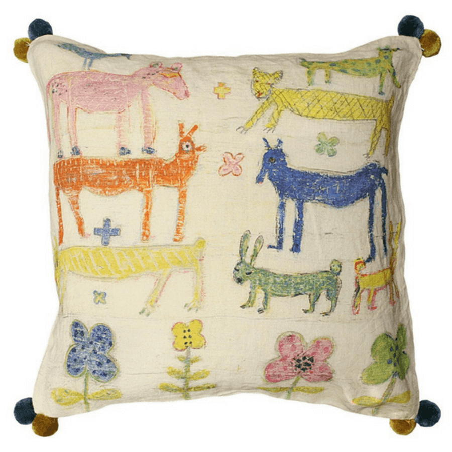 Stacked Animals Pillow (with Poms)