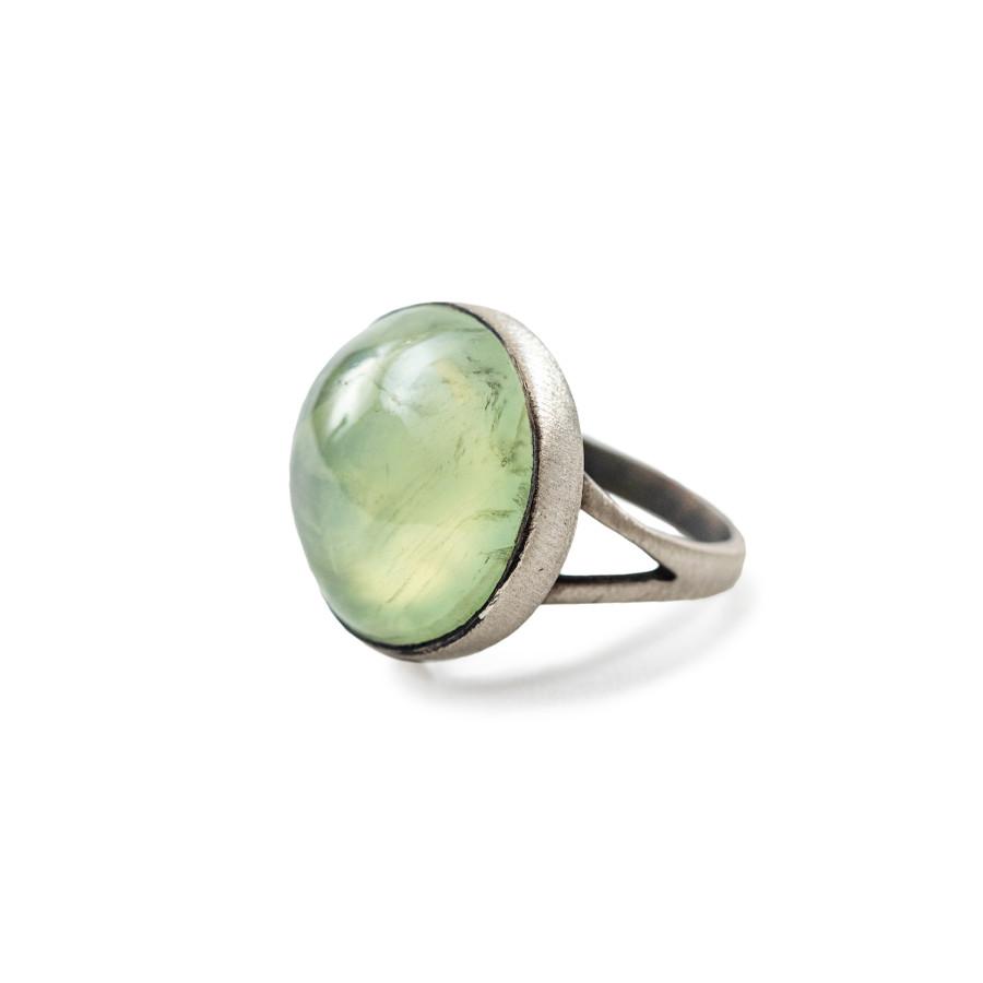 Oxidized Silver Prehnite Ring