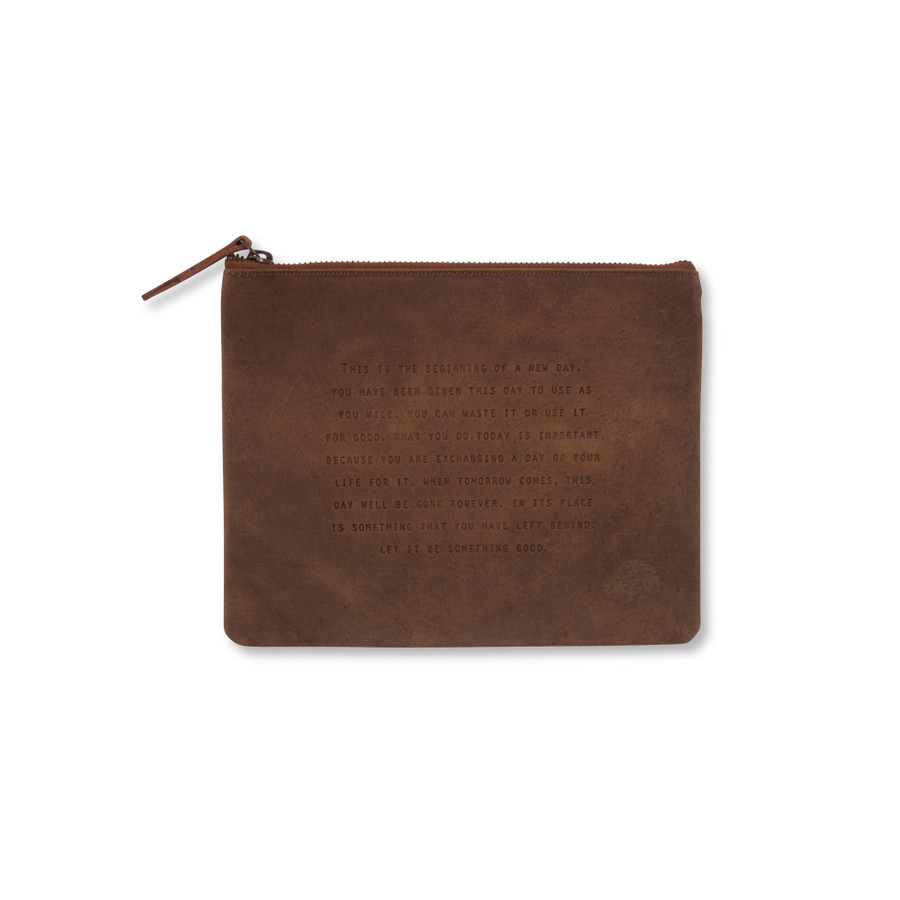 This Is the Beginning Leather Zip Bag