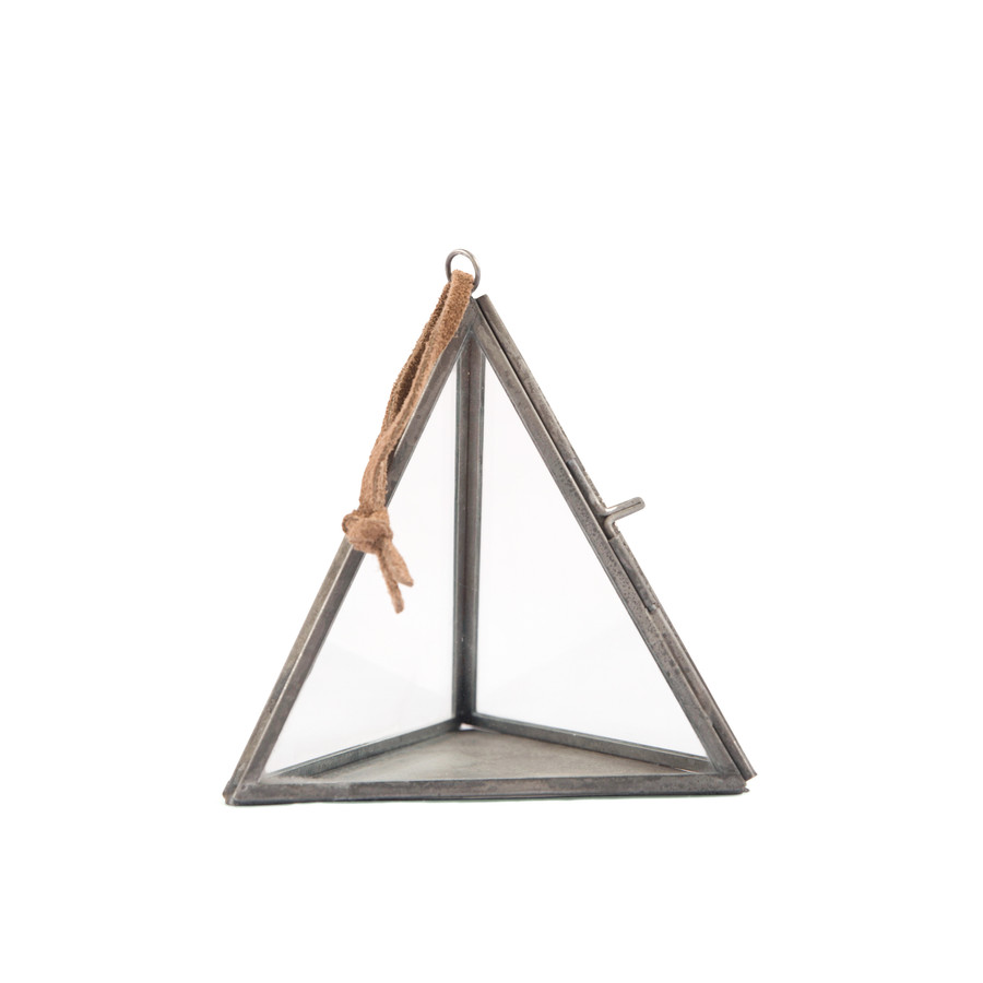 Hanging Triangle Frame with Brown Suede