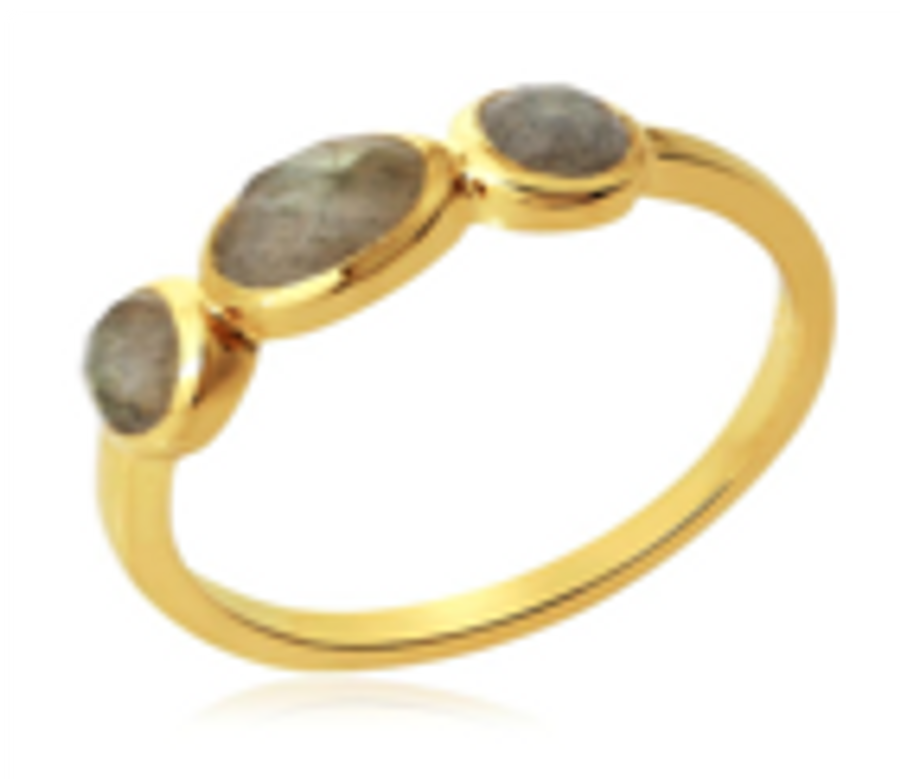 Gold Plated Ring with 3 Labradorite Stones