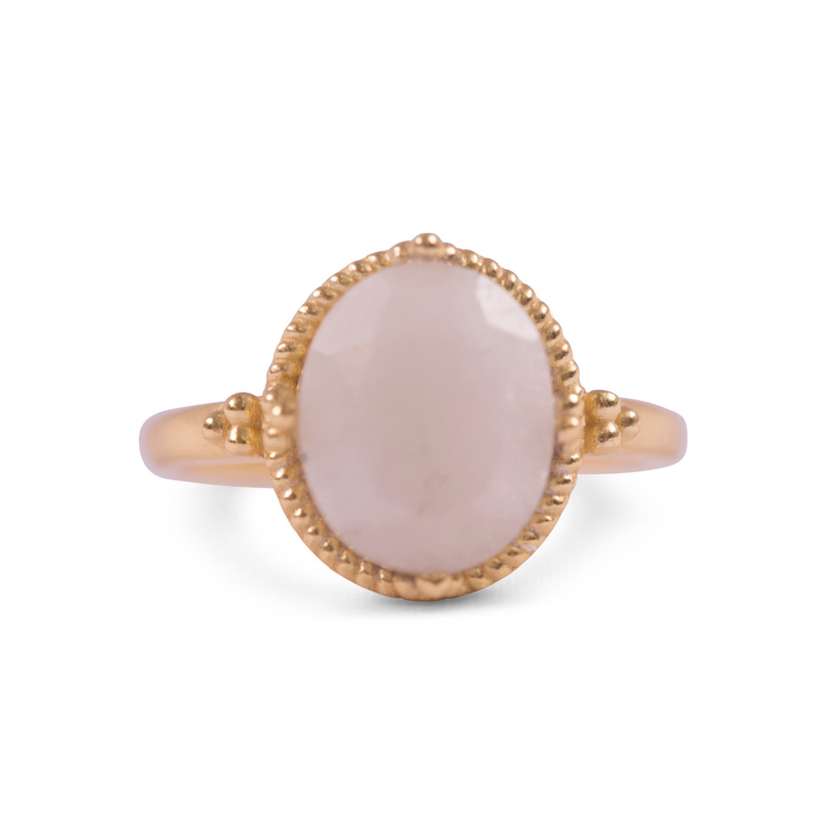 Gold Plated Ring with Rainbow Moonstone