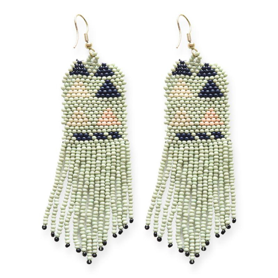 Mint Navy Pink Seed Bead Earring