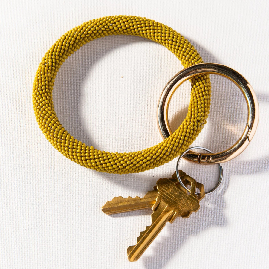 Citron Seed Bead Key Ring