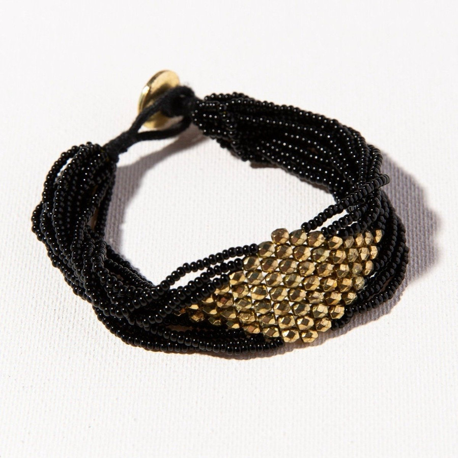 Black with Gold Diamond Seed Bead Bracelet