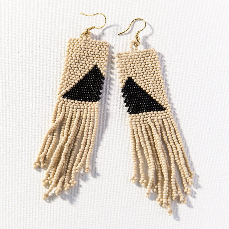 Ivory with Black Triangle Earring