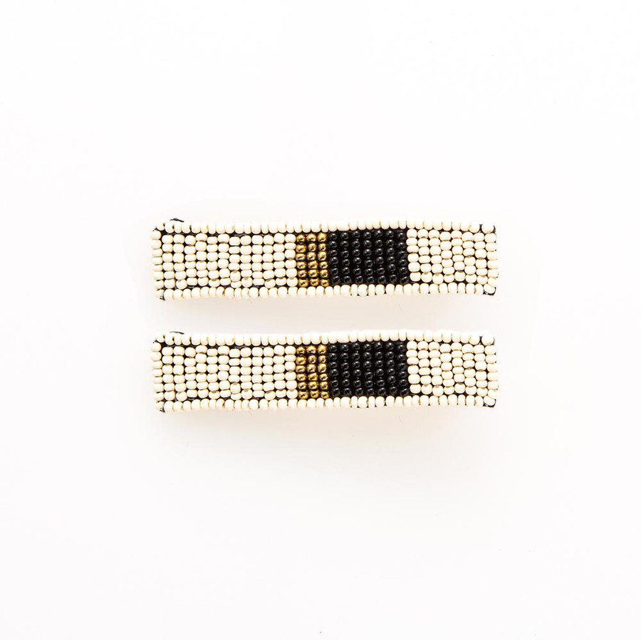 White Black and Gold Beaded Hair Clip - 2 Pack