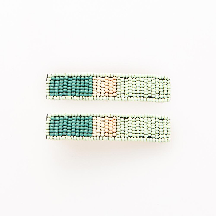 Mint Teal and Lilac Beaded Hair Clip
