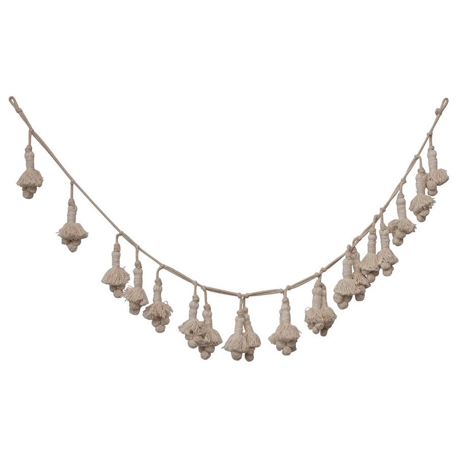 Cream Hand-Woven Cotton Tassel Garland