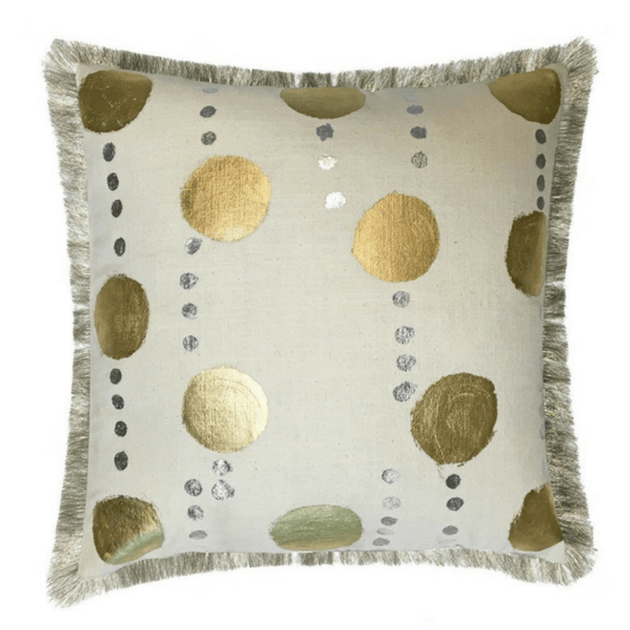 gold dotted linen pillow with fringe