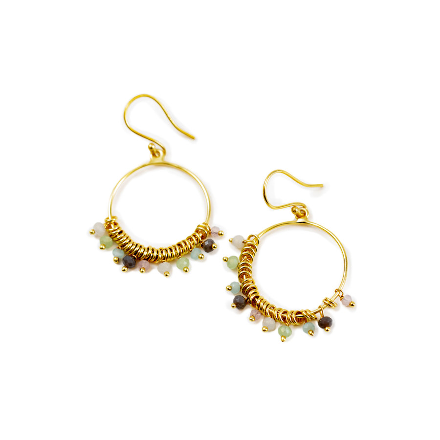 Gold Plated Earrings with Multi-color Beads