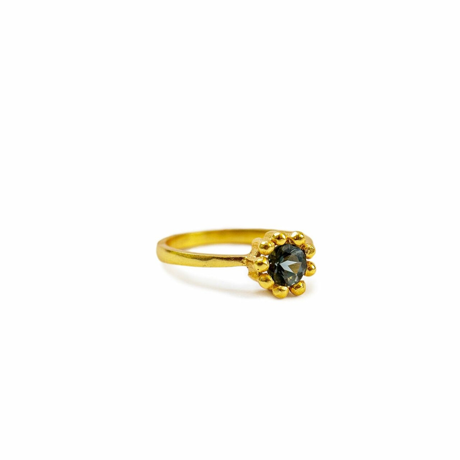 Gold Plated Ring with London Blue Topaz Colored Crystal - Pick from 4 sizes Creative Designs