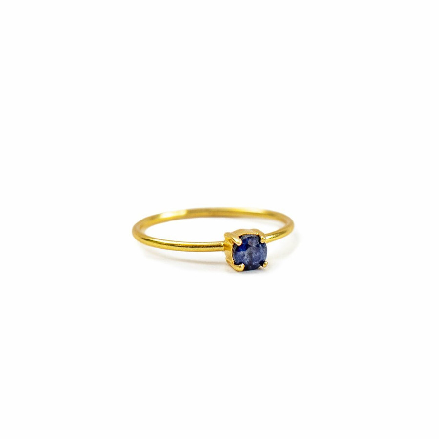 Gold Plated Ring with Dainty Blue Sapphire - Pick from 4 sizes Creative Designs