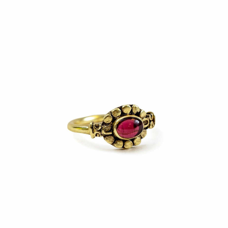 Gold Plated Ring with Garnet - Pick from 4 sizes Creative Designs
