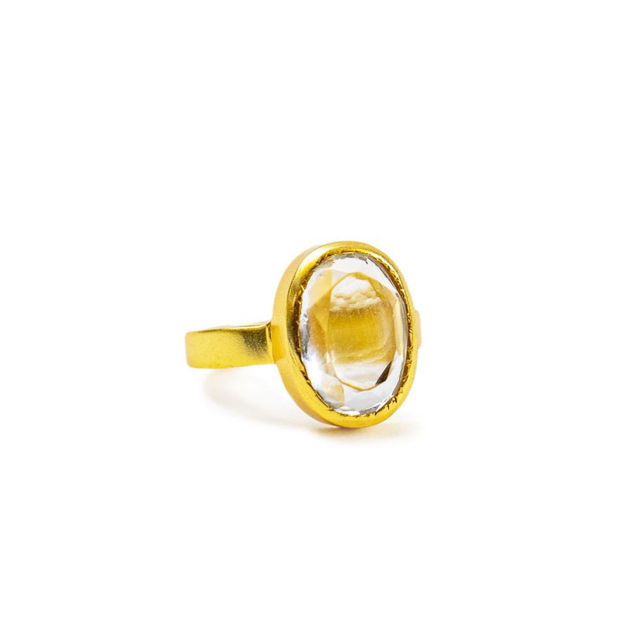 Gold Plated Ring with Clear Crystal -