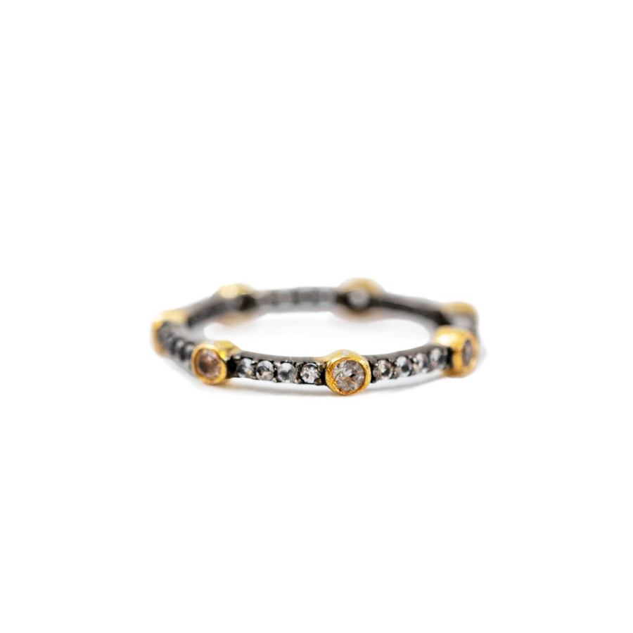 Black Ring with Gold Plated Accent - Pick from 3 sizes Arvino