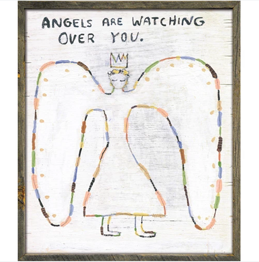 Angels are watching over you art print with greywood frame