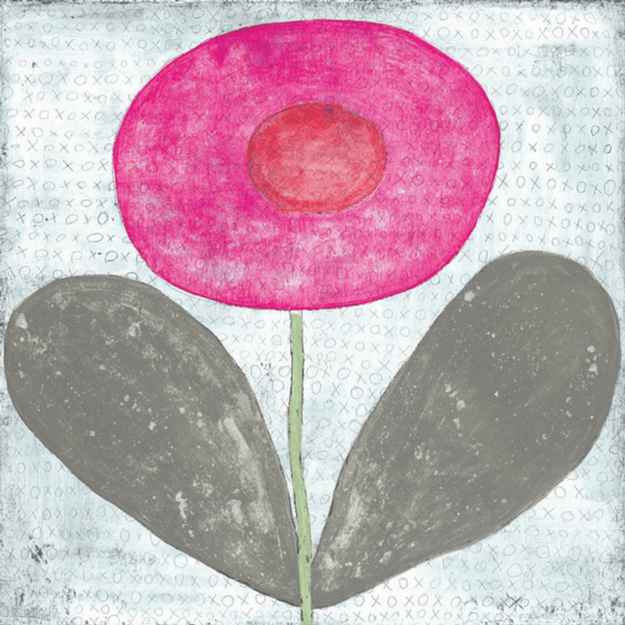 Happy Flower art print by Sugarboo Designs. Light background with a large pink flower.