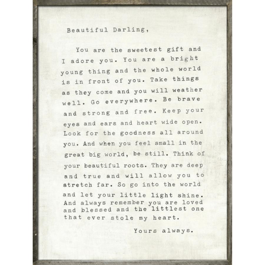Letter For Sophie art print with greywood frame