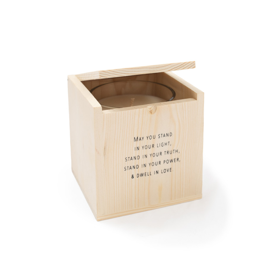 May you stand in your light - Blessing Candle with Engraved Wood Box