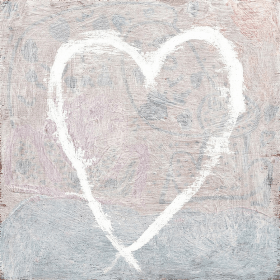 White Heart art print with gallery wrap frame