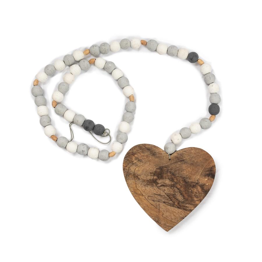 Large Heart Grey Wood Bead Strand
