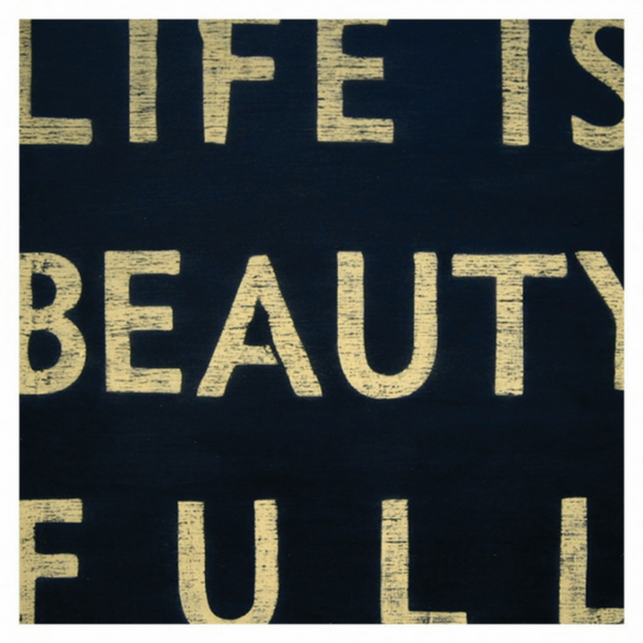 Antique Sign - Life is Beauty Full - Black with Cream Letters