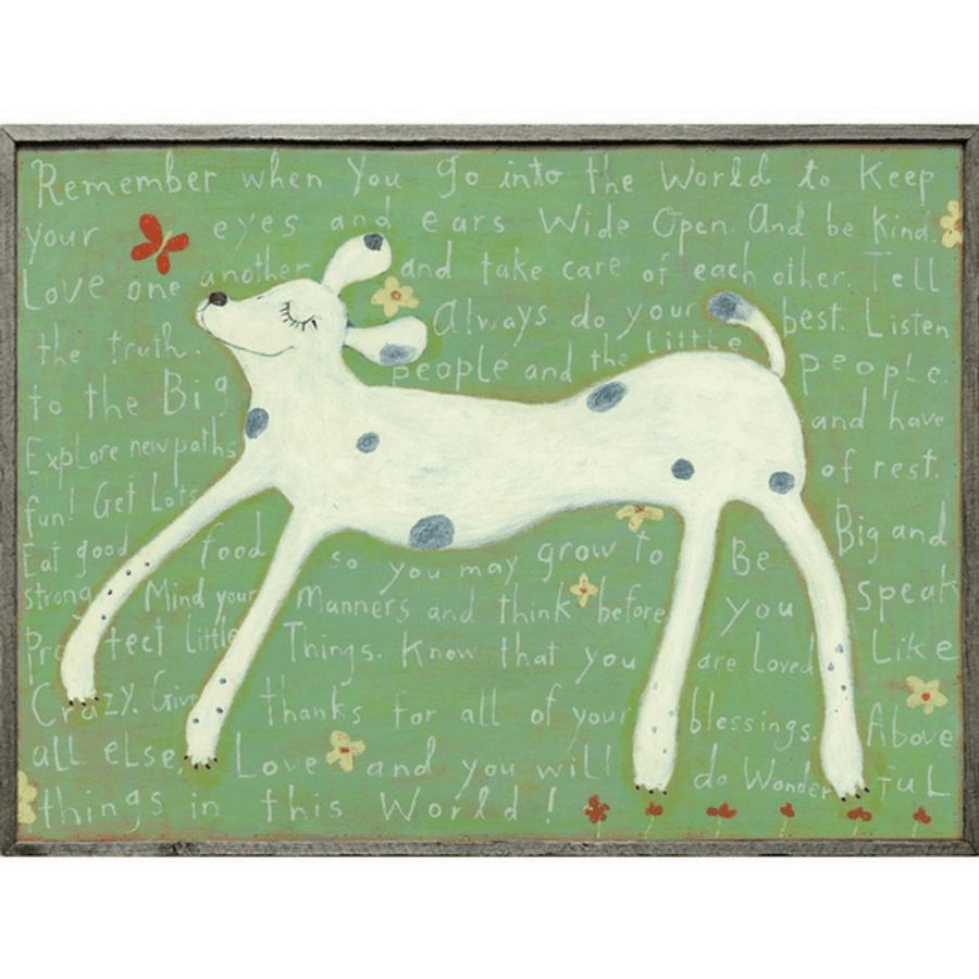 Girl Dog art print with greywood frame
